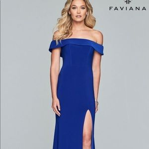 Faviana blue off the shoulder prom dress